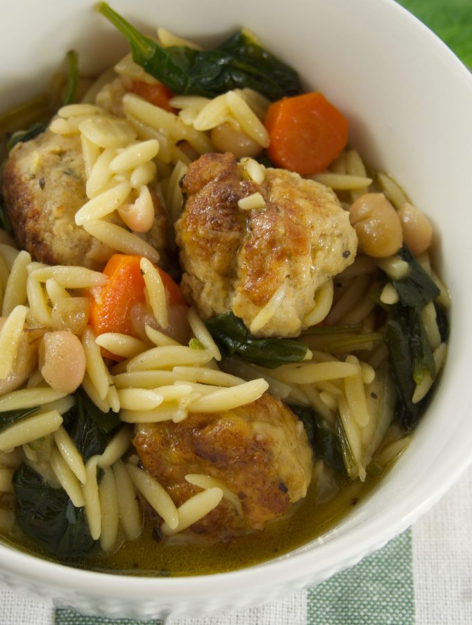 Chicken Meatball Soup with Pasta