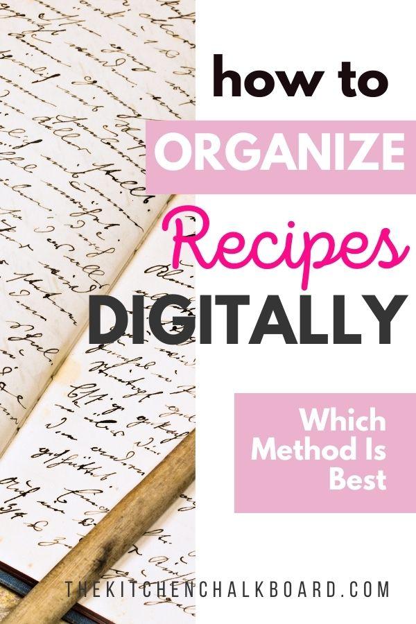 How to organize recipes digitally pin