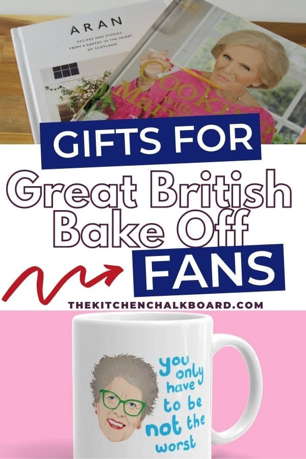 Gift ideas for Great British Bake Off fans includes photo of Prue Leith mug and two cookbooks by contestants
