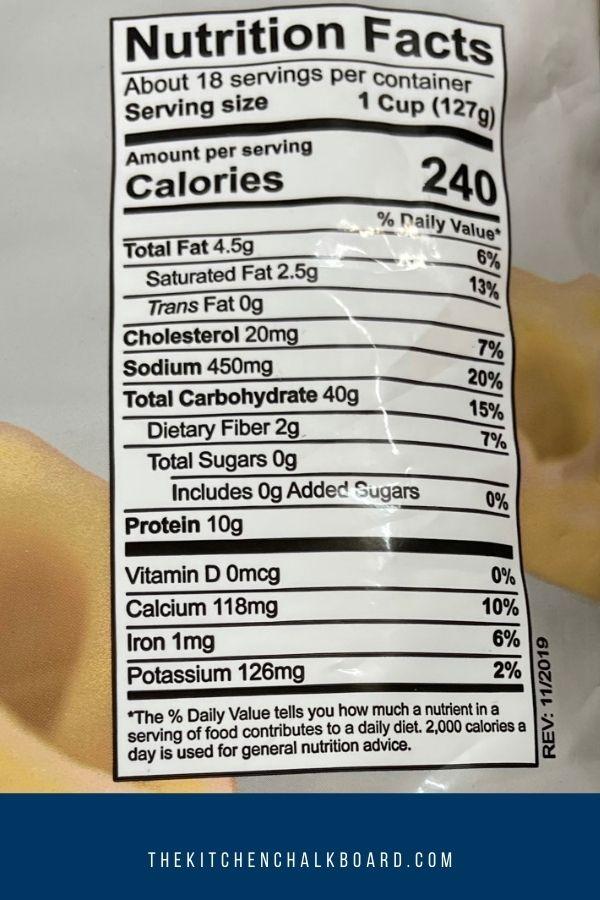 Nutrition Information For Costco Tortellini