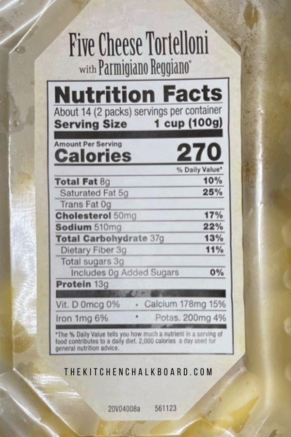 Nutrition Information For Costco Tortelloni